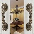 Sólida puxadores das portas de Bronze estilo europeu Villas antigos maçaneta da porta de madeira ( cc : 235 mm, L : 350 mm )