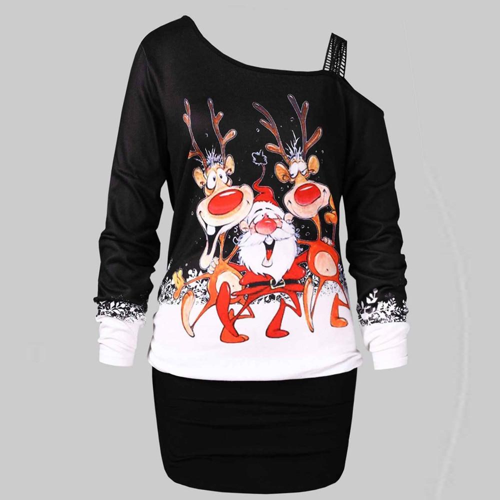 693079adf00a7 FeiTong women Ladies Dress Elegant Vintage Leaking Shoulder 2019 Christmas  Print Bodycon Party Vestidos De Fiesta Dress