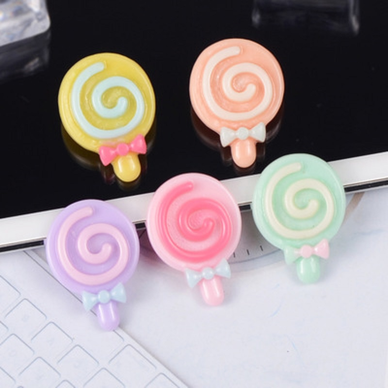 5pcs bag 2019 Candy Flat Back Resin Cabochons Handmade Soft Clay Lollipop Resin For Kids DIY Accessories Phone Decoration Crafts in Modeling Clay from Toys Hobbies