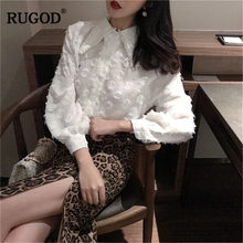 RUGOD Spring elegant two piece set top and pants pearl Beading turn-down collar white blouses&Leopard print split bodycon skirts(China)