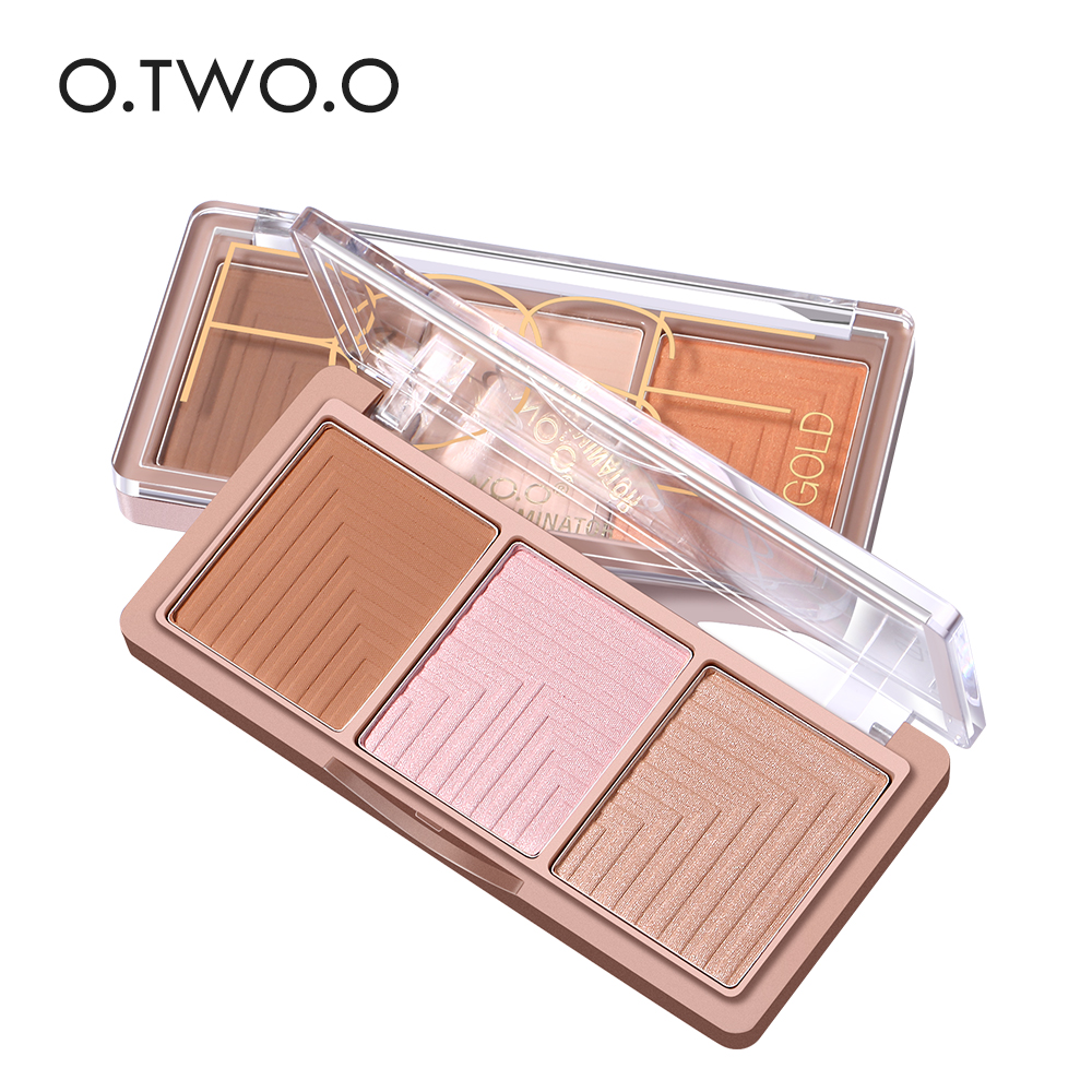 O.TWO.O 4Colors Blusher Palette Face Contour Powder Highlighter Bronzer Makeup Base Foundation Powder Highligter Powder 1pcs pro round top makeup brush cosmetic loose powder foundation compact powder blusher contour highlighter beauty tool