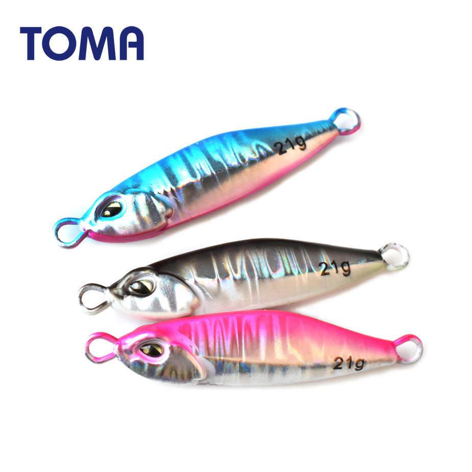 Toma metal gabarito iscas de pesca 10g 14g 21g chumbo peixe luminoso micro costa jigging colher com 2 gancho seawater isca de pesca