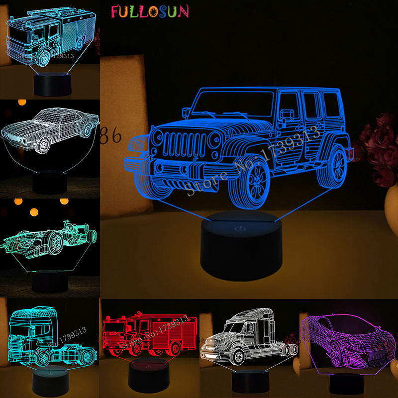 FULLOSUN Novelty Car Model LED 3D Night Light Jeep Racing Car Fire Truck Bus Model Lamp Colorful Decoration Light Lamp as Gift 3d led lamp light spiral colorful night light for wedding decoration innovative christmas gift present