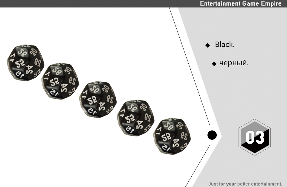 2 Yernea High-quality Multifaceted Dice Set 5Pcs D30 Polyhedron Digital Dice Dungeons and Dragons Games Dice  (3)