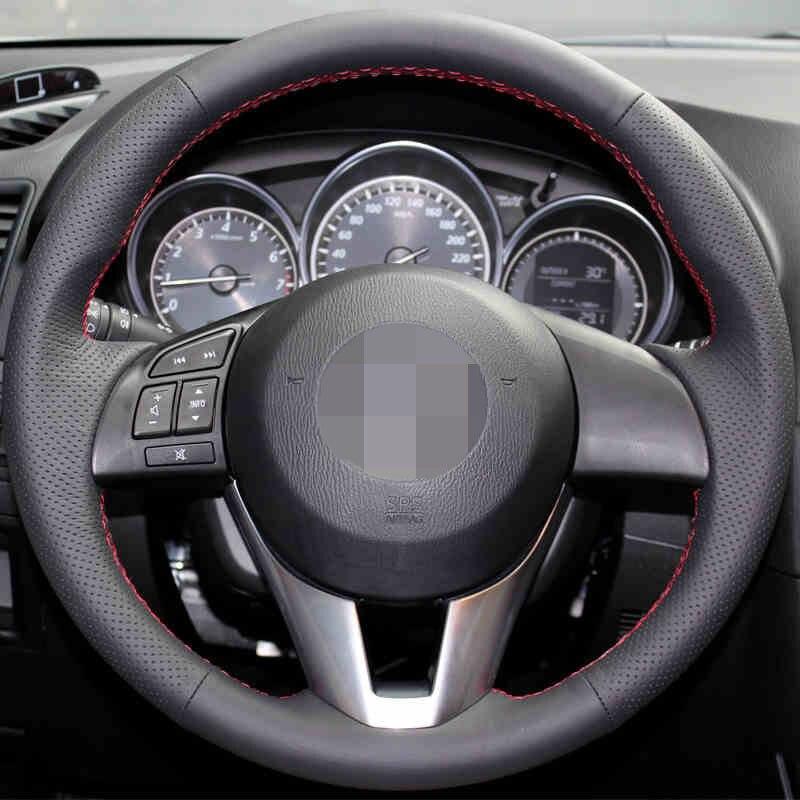 Noir Artificielle En Cuir Couverture De Volant de Voiture pour Mazda CX-5 CX5 Atenza 2014 Nouvelle Mazda 3 CX-3 2016 Scion iA 2016