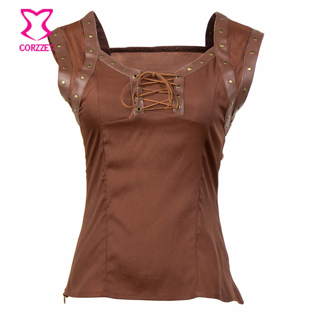 Victorian Gothic Bolero Brown Rivet Slik&leather Sleevelesss Lace up Vest T-shirt Women Sexy Steampunk   Tanks     Top   Matching Skrit