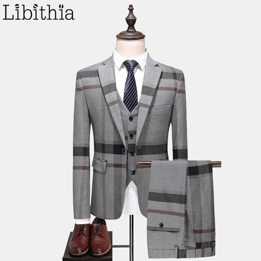 Men Suits Thick 3 Piece Suits One Button Blazer Jacket Pant Vest Plaid Grey Blue S-5XL Autumn Winter Slim Fit Dress Wedding T144