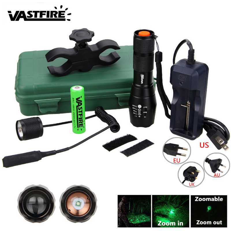 Q5 T6 Tactical 5000lm Zoomable Hunting Flashlight Green/Red/White LED Weapon Light+Rifle Gun Mount+18650+Pressure Switch+Charger