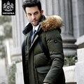 Novatex alta qualidade espessamento moda comercial projeto longo grande gola de pele com um capuz para baixo casaco masculino homens JACKT