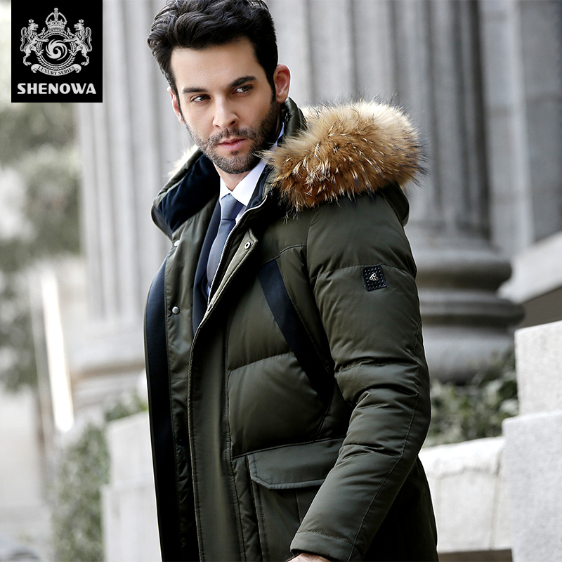 Novatex high quality thickening fashion long design commercial large fur collar with a hood   down     coat   male men'S jackets