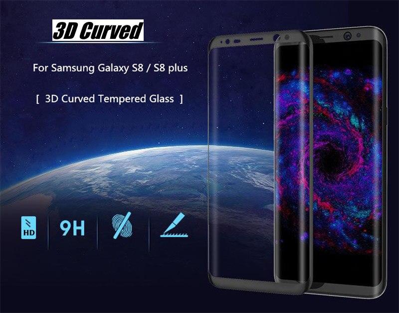 imágenes para 10 unids/lote curva 3d anti-shatter vidrio templado protector de pantalla de la cubierta completa para samsung galaxy s8 s8 más