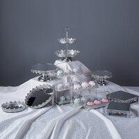 Dessert Table Decoration Wrought Iron Silver Acrylic Cake Plate Birthday Party Wedding Decoration Decoration