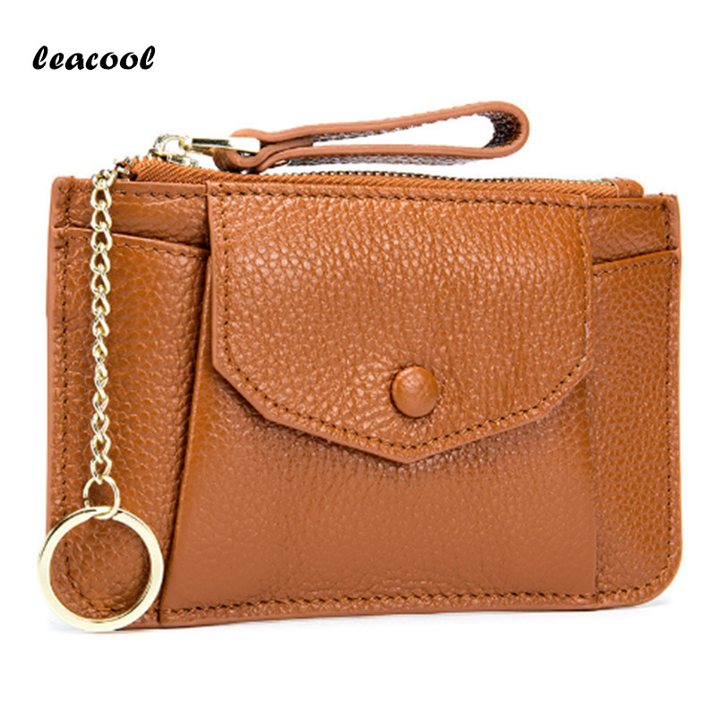 LEACOOL Fashion Vintage Faux Leather Women Lady Wallet Clutch Short Small Coin Purse Brand New Soft Solid Two Zip Square Bag Hot
