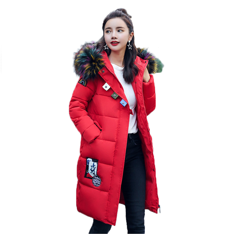 2017 Winter Hooded Parkas Female Brand Faux Fur Collar Down Cotton Coat Women Thick Warm Long Outwear Fashion Pocket Jacket Coat thick winter jacket women 2017 new raccoon fur collar warm female parkas jackets down cotton hooded loose coat outwear bl07