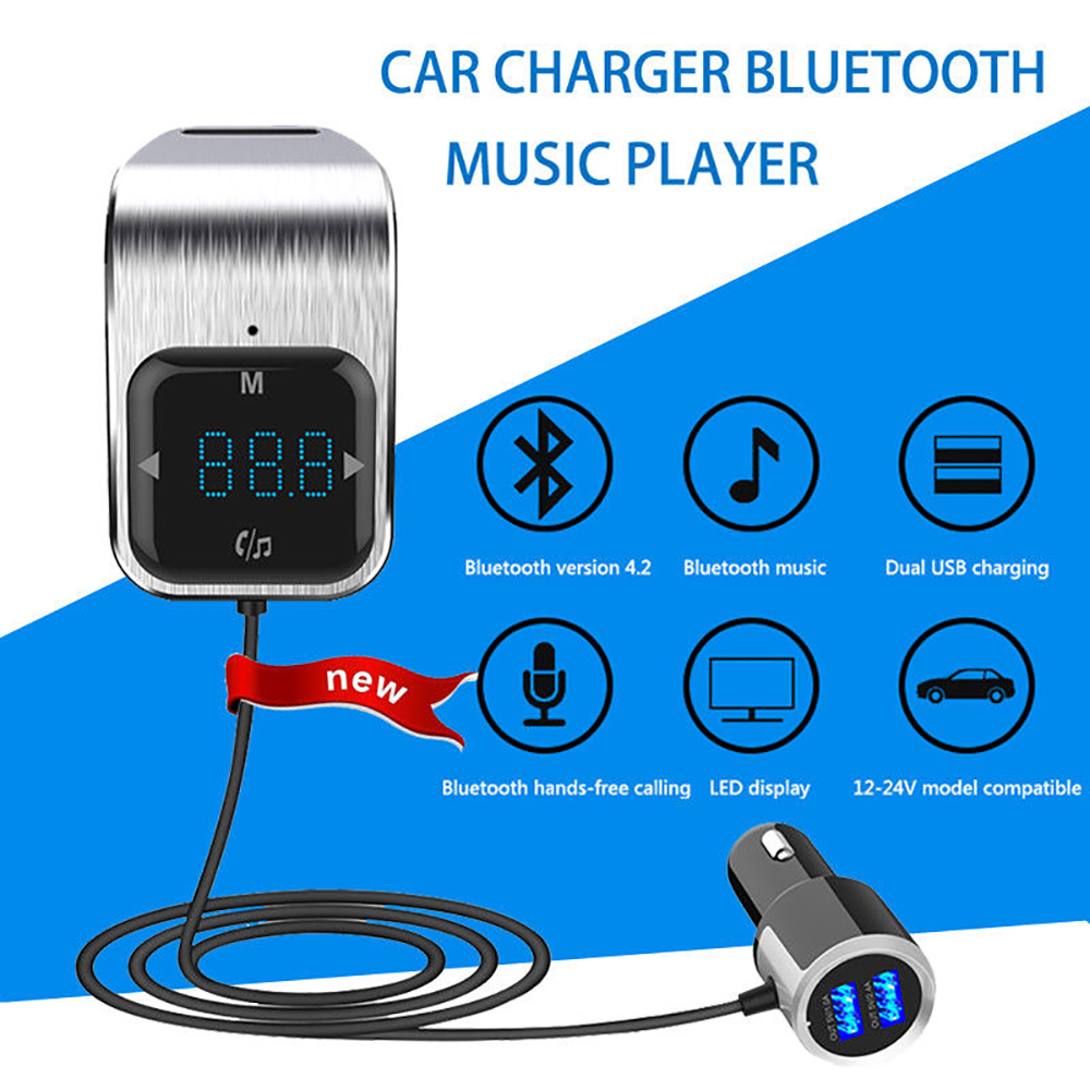 Image 2 - Car Small FM Transmitter Kit Bluetooth Car Kit  MP3 Radio Touch Button Bluetooth Adapter Dual USB Charger For Universal Car-in Bluetooth Car Kit from Automobiles & Motorcycles