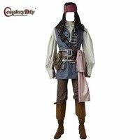 Косплэй DIY Пираты Карибского моря Косплэй капитан Джек Воробей Косплэй костюмы Для мужчин; костюмы на Хэллоуин наряд индивидуальный заказ