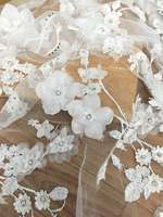 Ivory 3D Bridal Lace Fabric, Luxury3D Flowers Applique Wedding Fabric, French Lace, Embroidered Bridal Lace, Fabric by Yard