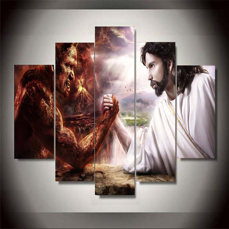 5 Panel Hot Sale Printed Group Canvas Painting Jesus