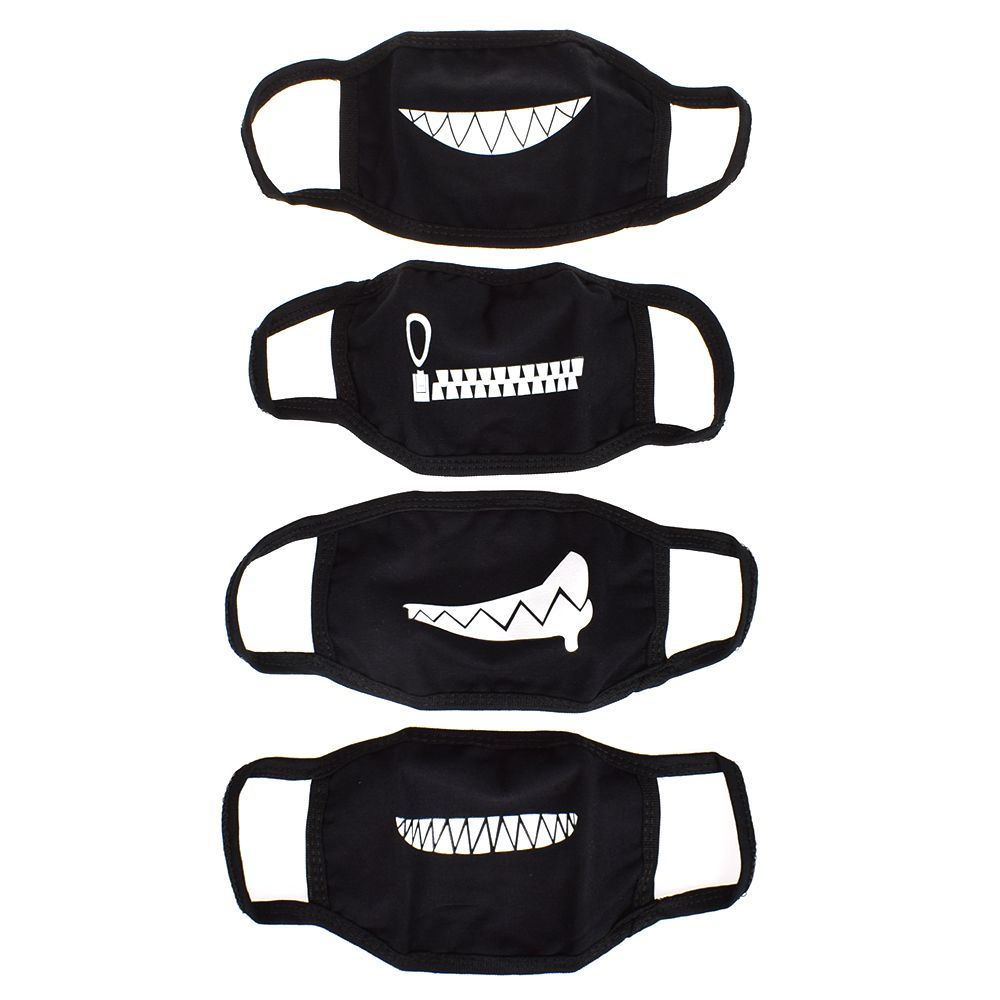 Black Unisex Cartoon Masks Black Cotton Half Face Mask Funny Teeth Letter Mouth High Quality 1Pcs