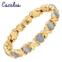 2015 Ladies Violet Blue Cat Eye Stones 18K Gold Magnetic Bracelet Women Jewelry Healing Bangle Free