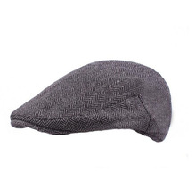 New Fashion Wool Felt Mens Berets Winter Warm Striped Flat Caps High Quality Cabbie Newsboy Driver Ivy for Men