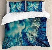 Лес постельное белье целью деревья топы и небо погоду небо Мечта Night UPS Даритель, декоративные 3 предмета Постельное белье