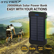Dual USB solar Power Bank 20000mah Backup Powerbank Portable Mobile Phone External Battery solar Charger For iPhone Samsung