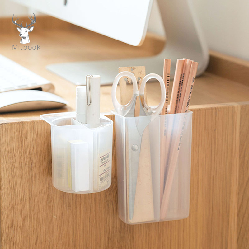 2/4 Grid Desktop Pen Holder Pasteable Hanging Storage Case Office School Plastic Box Desk Pencil Makeup Brush Organizer