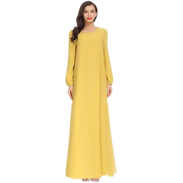 Women Fashion Elegant Muslim Plius Size Dresses Casual Solid O-Neck Ful Sleeve Chiffon Arab Islam Jilbab Dress z0415 4