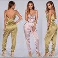 Sexy backless mulheres romper rosa cetim jumpsuit 2017 mulheres verão uma peça macacão bandage night club wear bodysuits completos XD828
