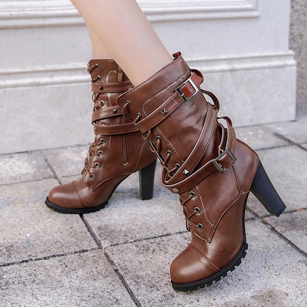 shoes Boots Women Ladies Classics Rivet Belt High Heels Mid-Calf Boots Shoes Martin Motorcycle Zip boots women 2018Oct31 32