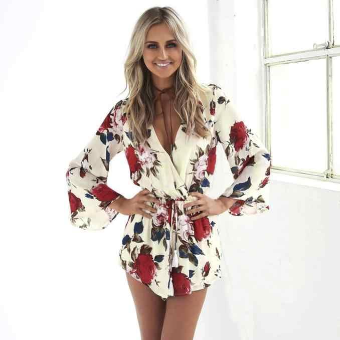 8c510420979 Free Ostrich 2019 Summer Beach Romper Women V Neck Print Jumpsuit Clubwear  Casual Loose Playsuit Short