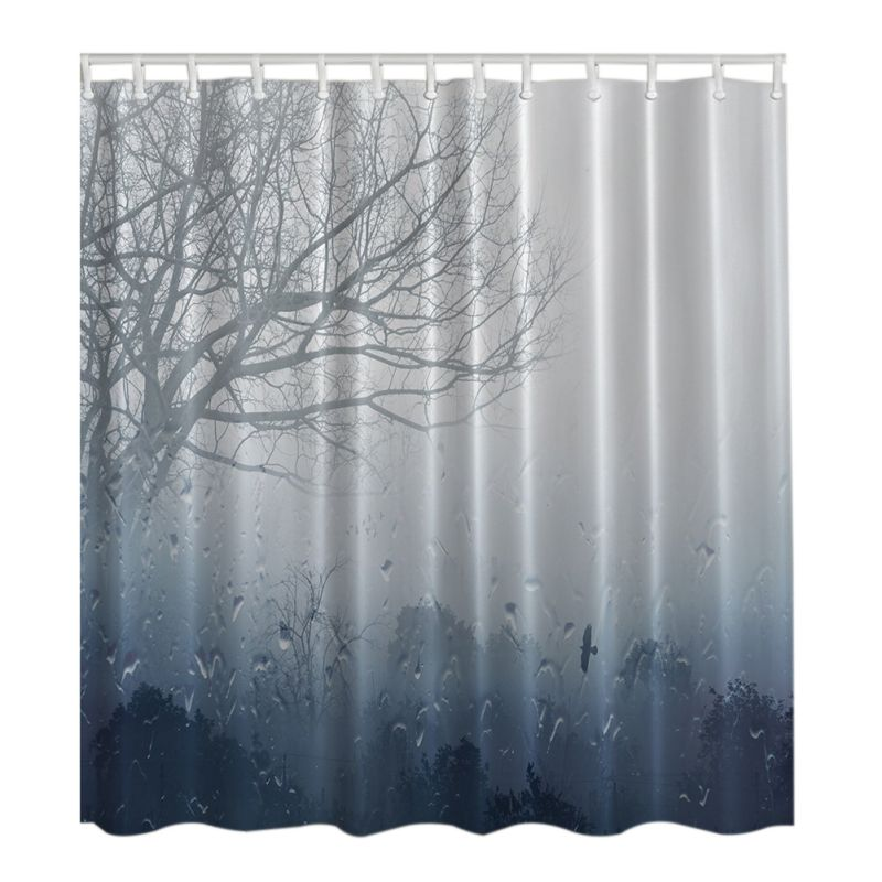 Star Red Grass Lotus Leaves Rainy Day Waterproof Shower Curtains Bathroom Creative Polyester Bath Curtain with 12 Hooks