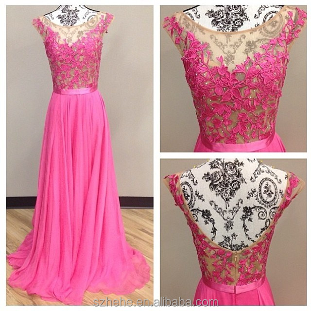 bf80b58f27 Bridals CW3040 Hot pink cap sleeve see through lace beaded evening gown  chiffon design beautiful evening dresses