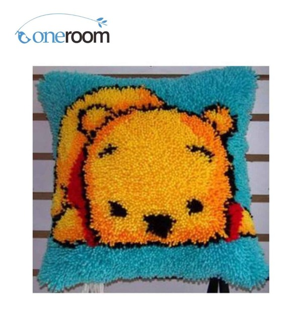 Bz073 Small Bear Hook Rug Kit Pillow Diy Unfinished Crocheting Yarn Mat Latch