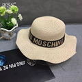 Version Summer New Large Brimmed Straw Female Hat Topper Outdoor Travel M Letter Hat Fungus Wave Beach Hat For women