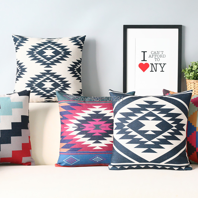 Vintage Design 18 45x45CM Geometric Aztez Cushion Linen Pillow Case Home Decor Cushion Cover