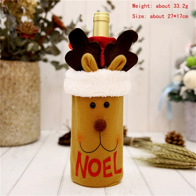 Hoomall 1PC Home Dinner Party Table Decors Wine Cover Christmas Decorations Santa Claus Snowman Gift Navidad Xmas Party Supplies 3