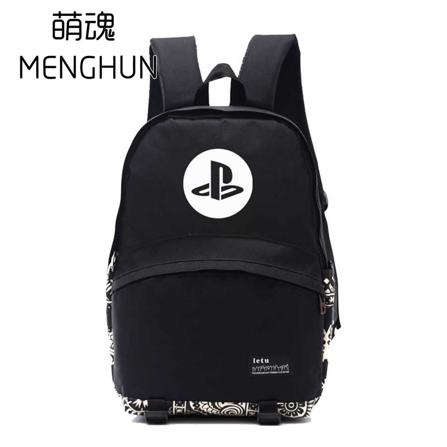 Cool black game fans backpack PS series backpacks for game fans  cool game console inspired PS icon printing backpack NB144