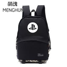 Cool black game fans backpack PS series backpacks for game fans cool game console inspired PS icon printing backpack NB144(China)