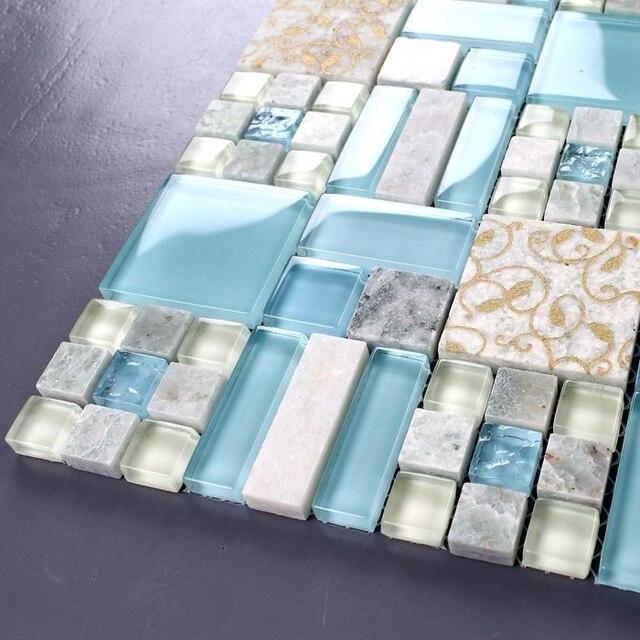 Blau glas gemischt steinmosaik fliesen badezimmer küche schlafzimmer ...
