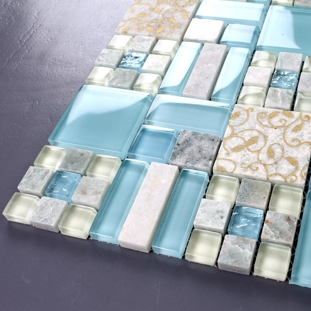 Blue Glass Mixed Stone Mosaic Tiles Bathroom Kitchen Bedroom Living Room Wall And Floor