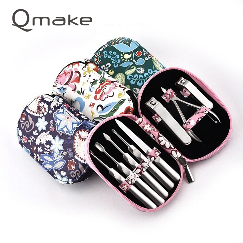 Qmake Stainless Steel Manicure Tools Toe nail Clipper and Finger Cutter Pedicure Sets Nail Kit High Quality Nail Care