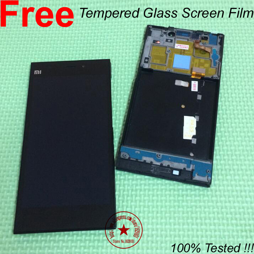 ФОТО 100% Tested Full LCD Display Touch Screen Digitizer Assembly + Frame/Bezel For Xiaomi Mi3 M3 WCDMA Parts + Tempered Glass Film
