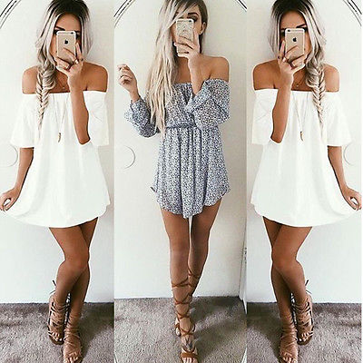 Beach Evening Party Sundress Slash Neck Summer Women Summer Short Mini Dress Ladies Sleeveless