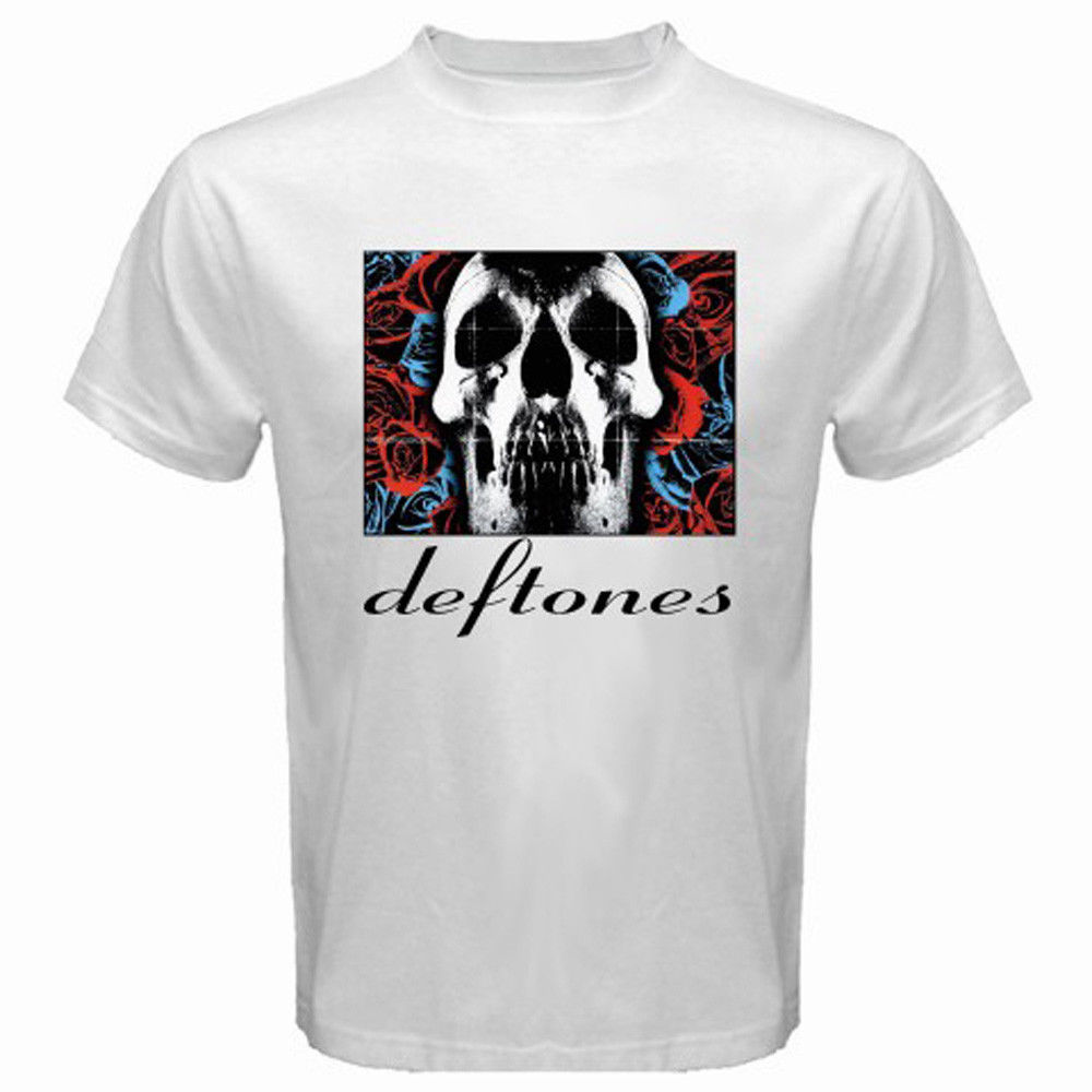 T shirt deftones white pony - Cool Casual Gildan Men S New Deftones Rock Band Album Logo White Short Printing Machine O Neck T Shirts