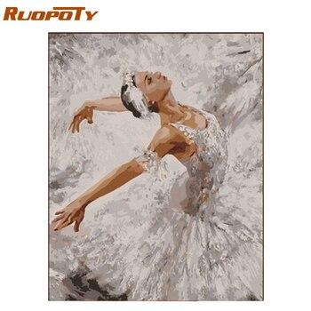 RUOPOTY Çerçeve Bale DIY Boyama By Numbers Modern Duvar sanat resmi Figürü Boyama Akrilik Boya Numaraları Benzersiz Hediye 40x50