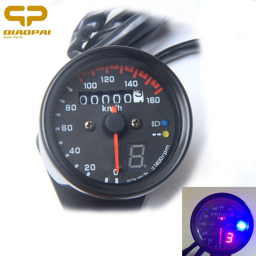 Moto Compteur De Vitesse Odomètre Compteur de Vitesse Jauge Instrument Rétro-Éclairage LED Lumière Modifié Moto Pour Harley Honda GN125 CG125