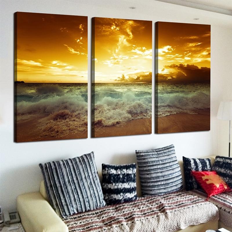 Yellow Sea Landscape Canvas 3 կտոր նկարելու համար - Տնային դեկոր - Լուսանկար 6