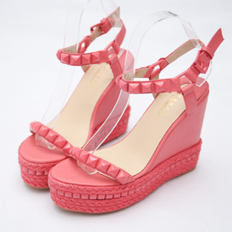 Pink Roman Gladiator Sandals Women 2017 Summer High Heel 12cm Shoes Rivet Peep Toe Wedges Party Casual Zapatos Mujer Plataforma 2017 summer new rivet wedges sandals creepers women high heel platform casual shoes silver women gladiator sandals zapatos mujer